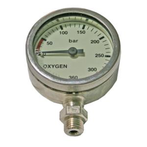 Finimeter 52 mm 0-360 Bar, Oxygen